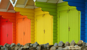 Four colored doors