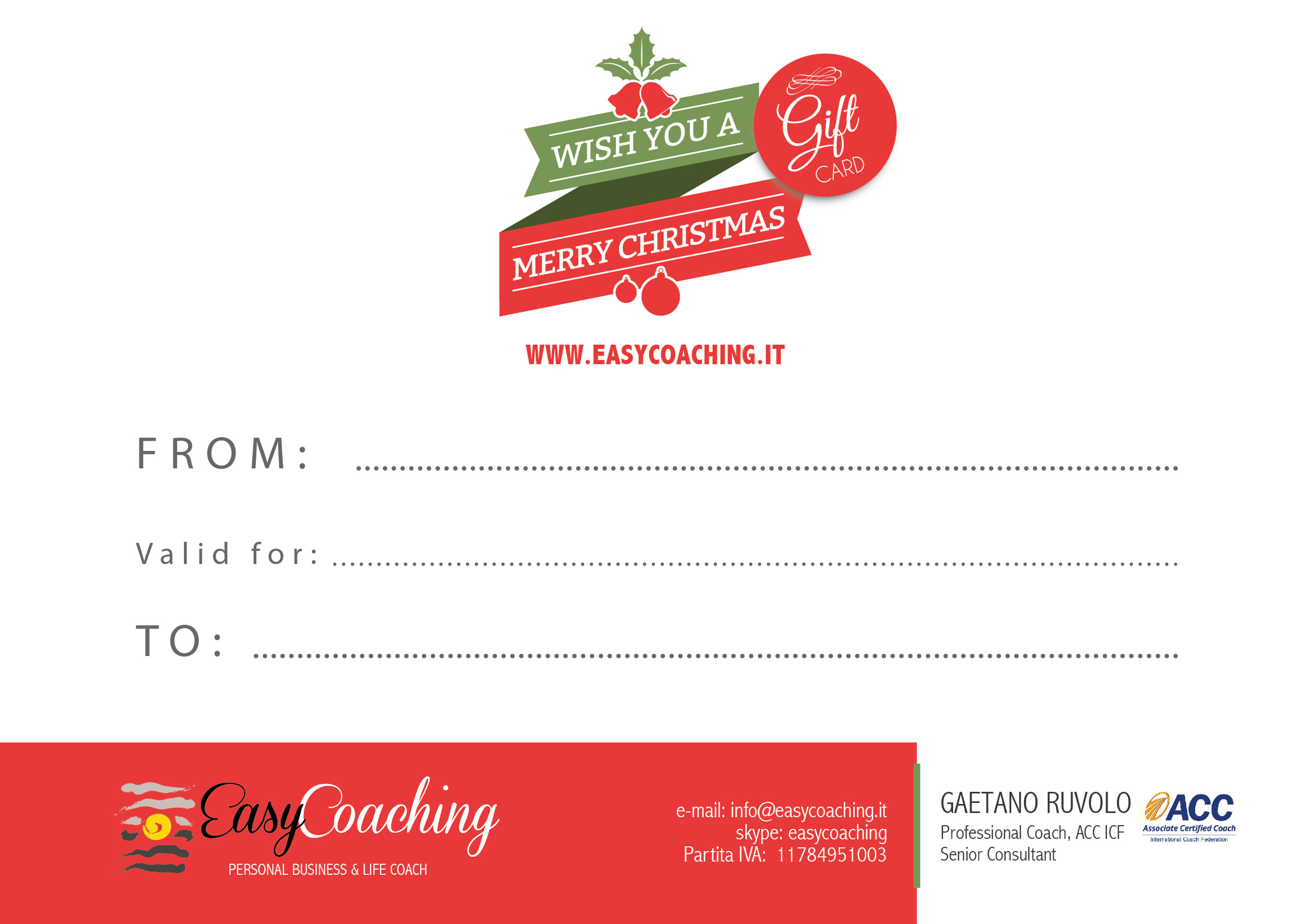 Gift Card natalizia di Easy Coaching